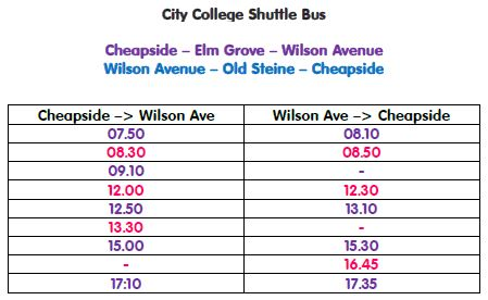 City College Brighton & Hove Big Lemon shuttle bus Timetable Jan 2016