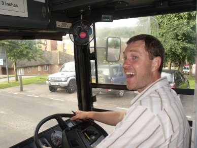 Happy bus driver