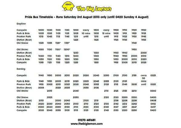 Pride bus timetable