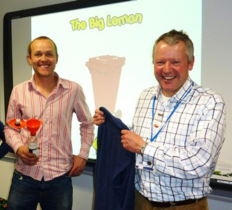 Tom Druitt MD of The Big Lemon (left) with Clive Bonny showcasing recycling at the Brighton Aldridge Community Academy