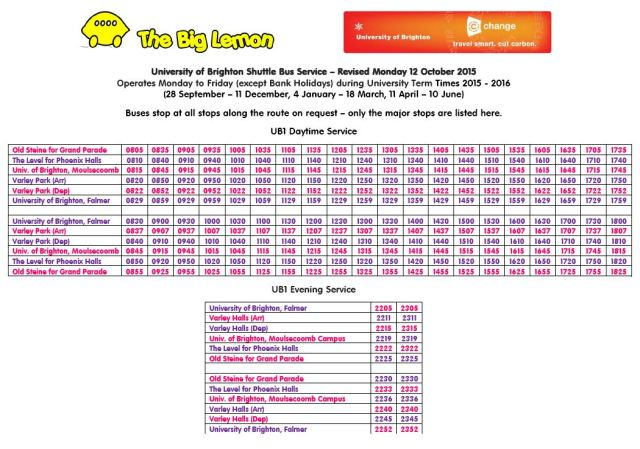 University of Brighton Shuttle Bus Timetable 2015 - 2016
