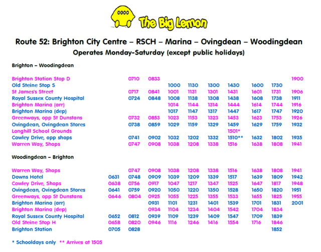Route 52 Timetable 15 May 2017