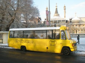The Big Lemon in the snow outside Brighton's Royal Pavilion