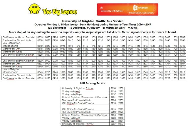 university-of-brighton-shuttle-bus-timetable-2016-2017